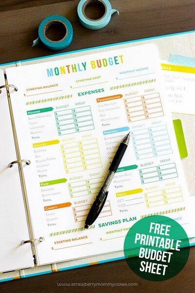 Printable Budget Sheets in Printable Crush