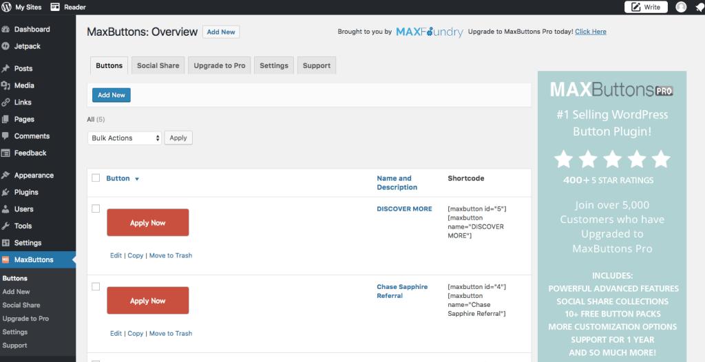 MaxButtons Editor in WordPress