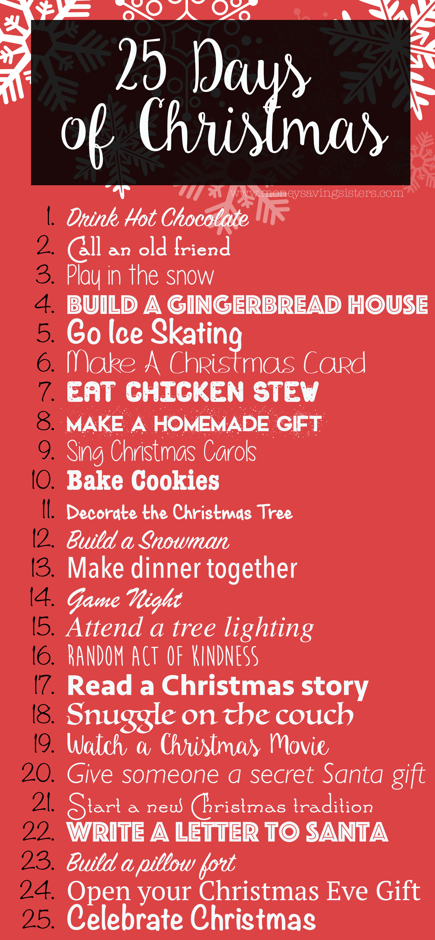 25 Days Of Christmas Activities For The Entire Family Money Saving Sisters