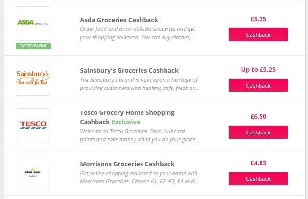 Topcashback Cashback Deals for Online Supermarkets