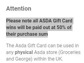 Asda Gift Card Notice