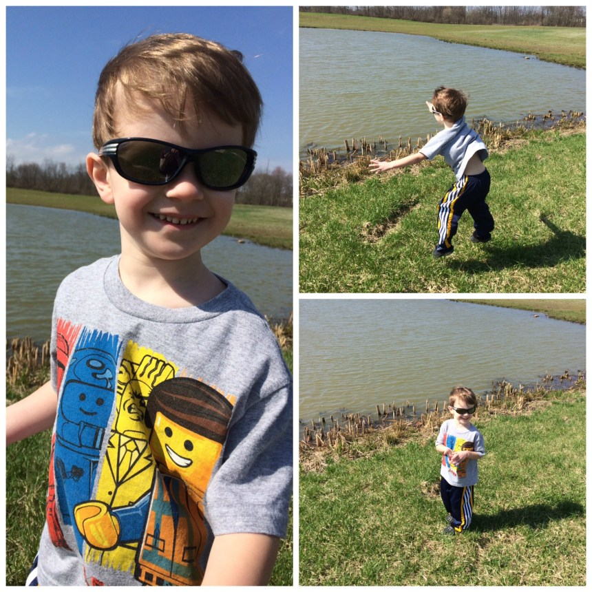 Having fun throwing rocks in the pond... something so simple, but look how happy he is... LIFE IS GOOD.