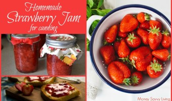 Homemade Strawberry Jam for Canning. You will love this classic recipe for homemade strawberry jam... and it is so much healthier than store bought! #jam #jamrecipe #strawberry #strawberryjam #strawberryjamrecipe #homemadejam