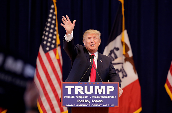 PELLA, IA - JANUARY 23: Republican presidential candidate Donald Trump greets guests before speaking at a campaign event January 23, 2016 in Pella, Iowa. Trump, who is seeking the nomination from the Republican Party is on the presidential campaign trail across Iowa ahead of the Iowa Caucus taking place February 1. (Photo by Joshua Lott/Getty Images)