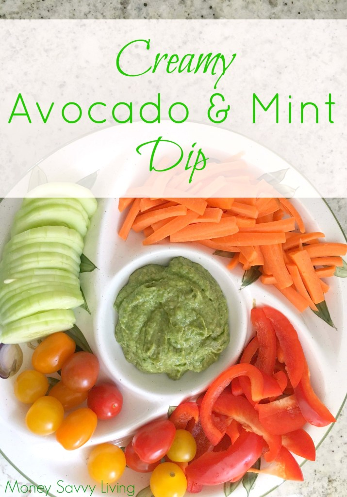 This recipe for avocado & mint dip is so creamy and delicious it can be used for way more than veggie dip.  It is actually really good as a pasta sauce as well!  #dip #diprecipe #saucerecipe #sauce #avocado #mint #gardenfresh #garden #pastasauce