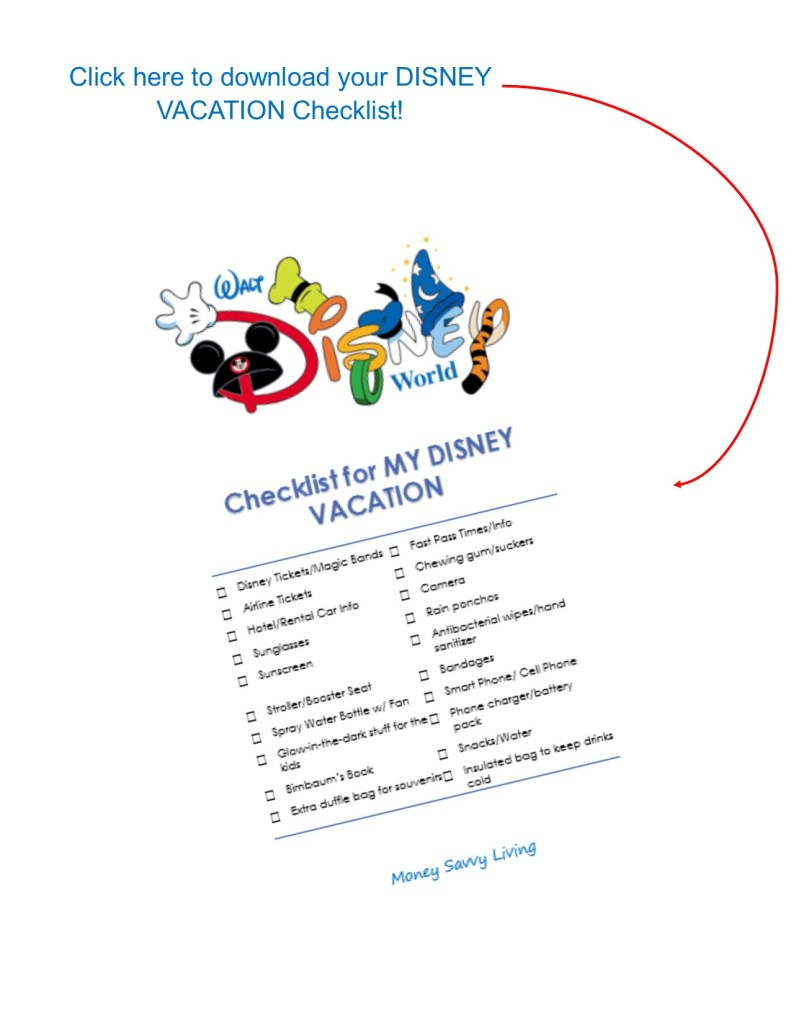 Disney Vacation Printable Checklist // Money Savvy Living