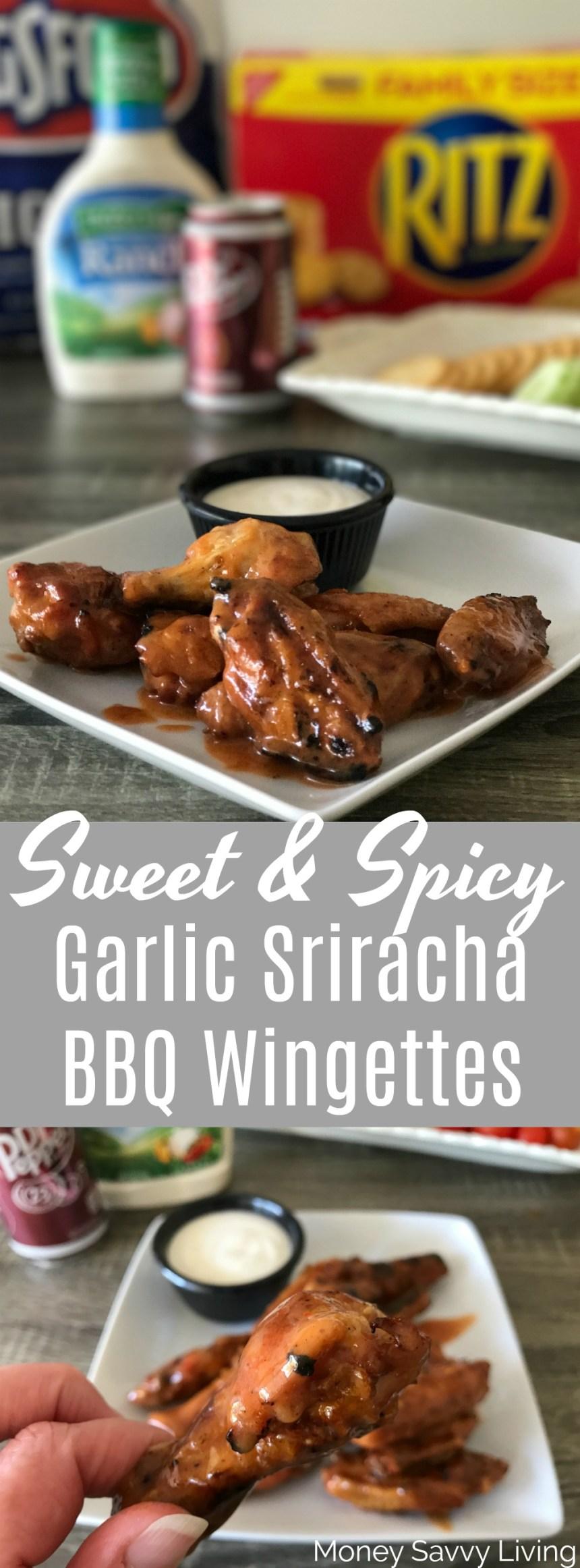 Sweet & Spicy Garlic Sriracha BBQ Wingettes // Money Savvy Living