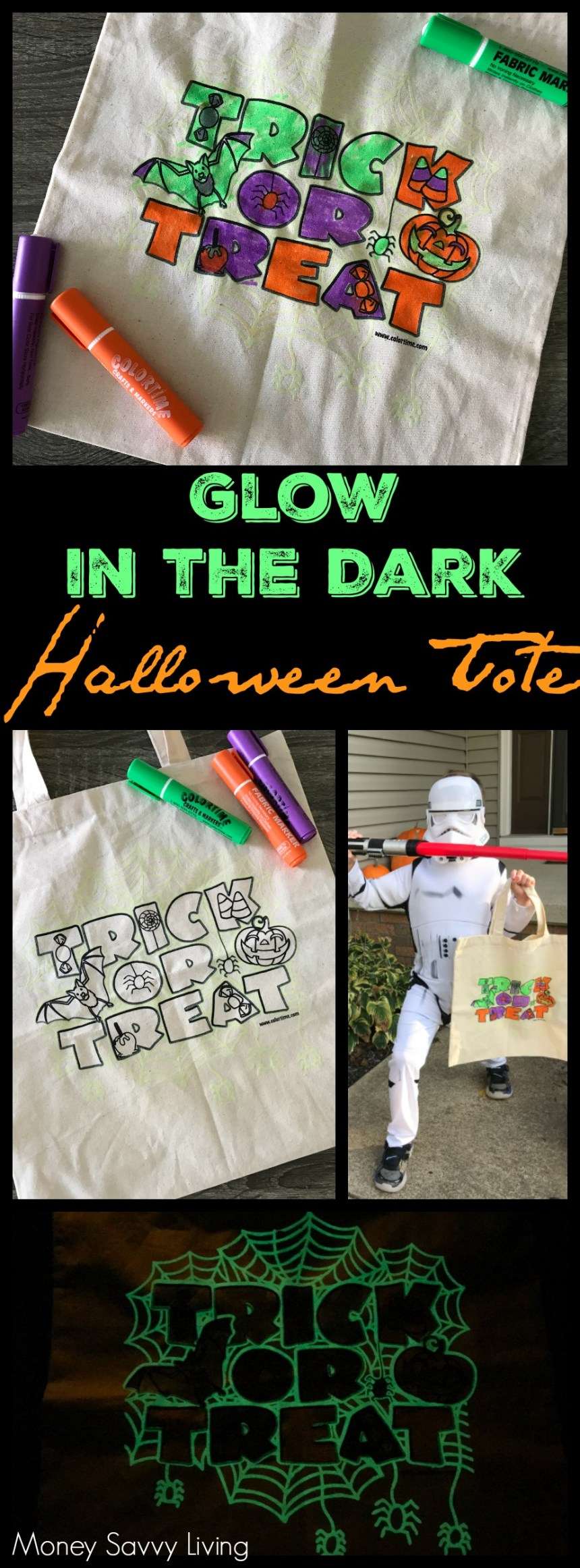 Getting ready to take your kids treat-or-treating this Halloween? They will love making this Glow in the Dark Trick or Treat Tote for Halloween. #Colortime #Halloween #trickortreat #halloweencandy