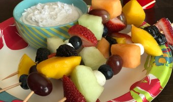 Fresh Fruit Kabobs with Healthy Coconut Yogurt Dip
