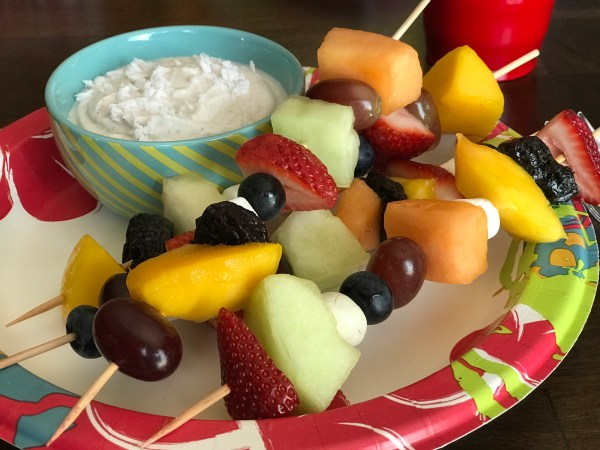 Fresh Fruit Kabobs with Healthy Coconut Yogurt Dip // Money Savvy Living #fruitkabobs #yogurtdip #GiantEagleSlashedPrices