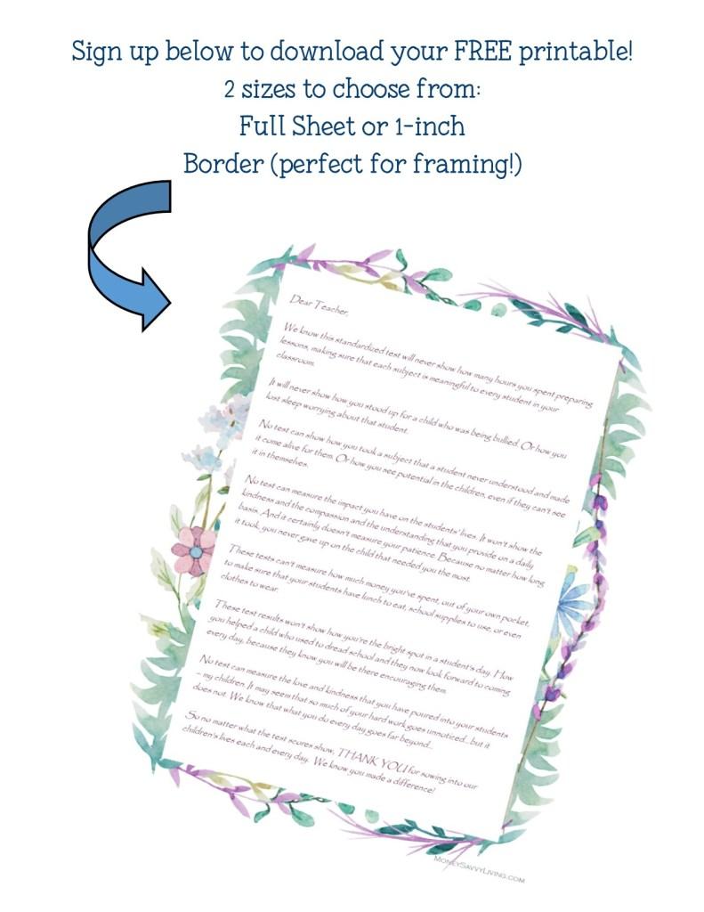 Open Letter to Teachers about Standardized Test Scores + FREE Teacher Appreciation Printable #teacherappreciationweek #thankyou