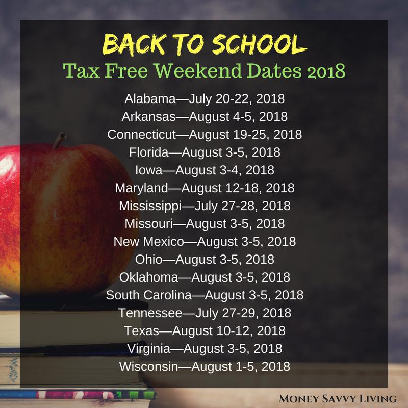 Back to School Tax Free Weekend 2018 // Money Savvy Living #taxfreeweekend #taxholiday #backtoschool