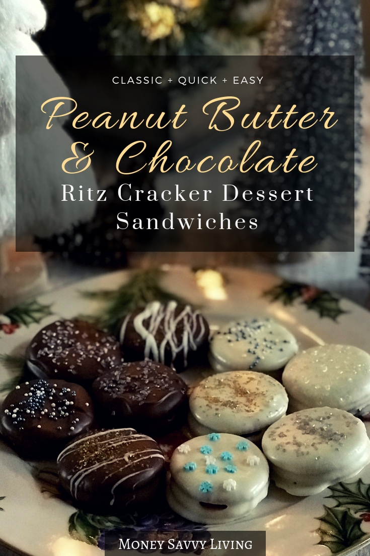 Looking for a quick and easy dessert for your next holiday party? You will definitely want to make these Peanut Butter and Chocolate Ritz Cracker Dessert Sandwiches. #partyfood #dessertrecipe #easydessert #holidayparty #christmasparty #newyearspartyfood #appetizer #peanutbutter #chocolate #ritzcrackers
