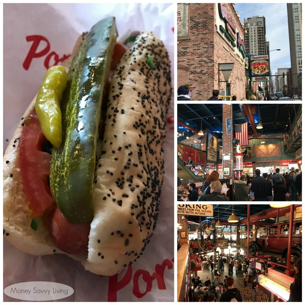 Best places to eat in Chicago! #chicago #chicagofood #travelchicago #portillos #hotdog #chicagostylehotdog #gardendog