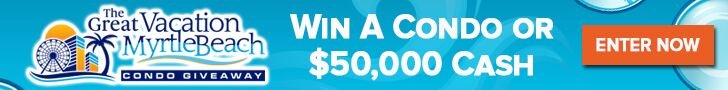 The Great Myrlte Beach Condo Giveaway! Enter now to win an Oceanfront Condo valued at $100,000 or a $50,000 cash prize-- winners choice! #giveaway #contest #contestalert #MrytleBeach #vacationMB #usfg @usfg @vacationMB #cash #prizes #condo #MyrtleBeachCondo #beachvacation #beach