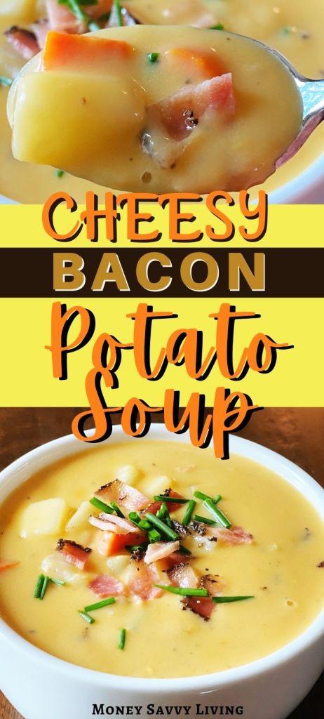 Cheesy Bacon & Potato Soup #potatosoup #cheesesoup #comfortfood #souprecipe