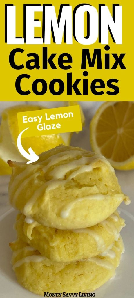 These Lemon Cake Mix Cookies are so easy to make! And we kick up the lemon flavor with a lemon glaze! #cakemixcookies #lemon #lemoncookies #lemonglaze