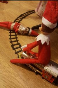 Elf on The Shelf Damsel on Train Track