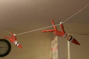 Elf on The Shelf Hanging on String