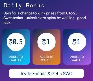 sweatcoin daily bonus screenshot
