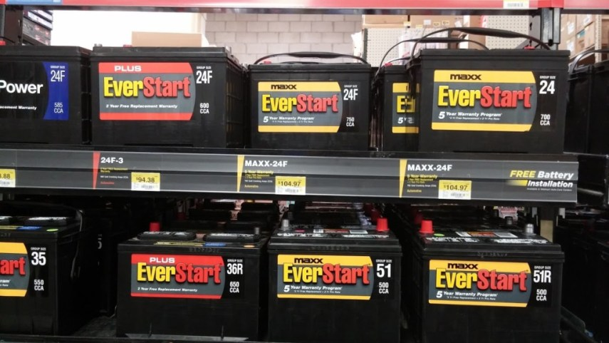 Walmart EverStart Car Battery Warranty   Details   History A rack holding several rows of Walmart Everstart Maxx batteries