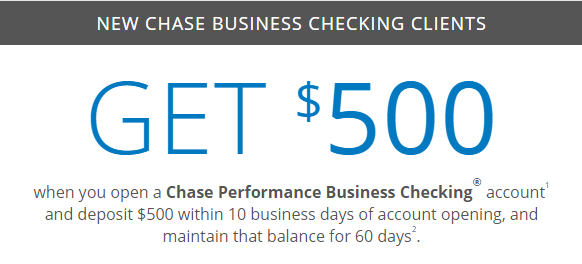 chase 500 coupon for checking savings business accounts
