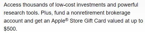 Fidelity Apple Gift Card Offer