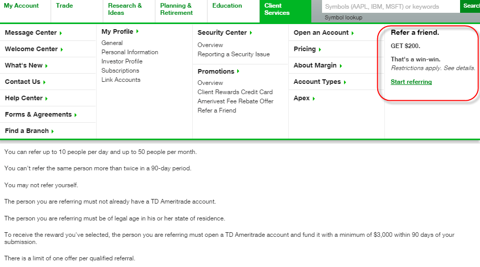 TD Ameritrade $600, $1000, $1500, $2500 Cash Bonuses For