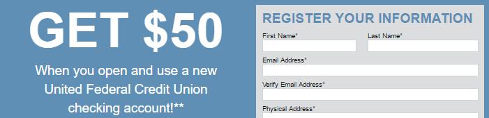 United Federal Credit Union $50 Bonus