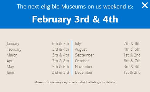 2018 Bank of America Museums On Us Calendar