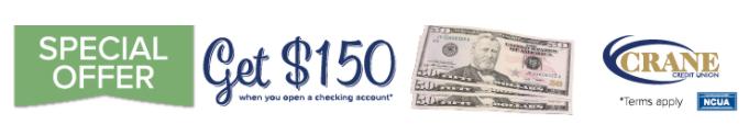 Crane Credit Union $150 Bonus Offer