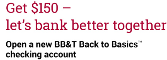 BBT Bank $150 Checking Bonus