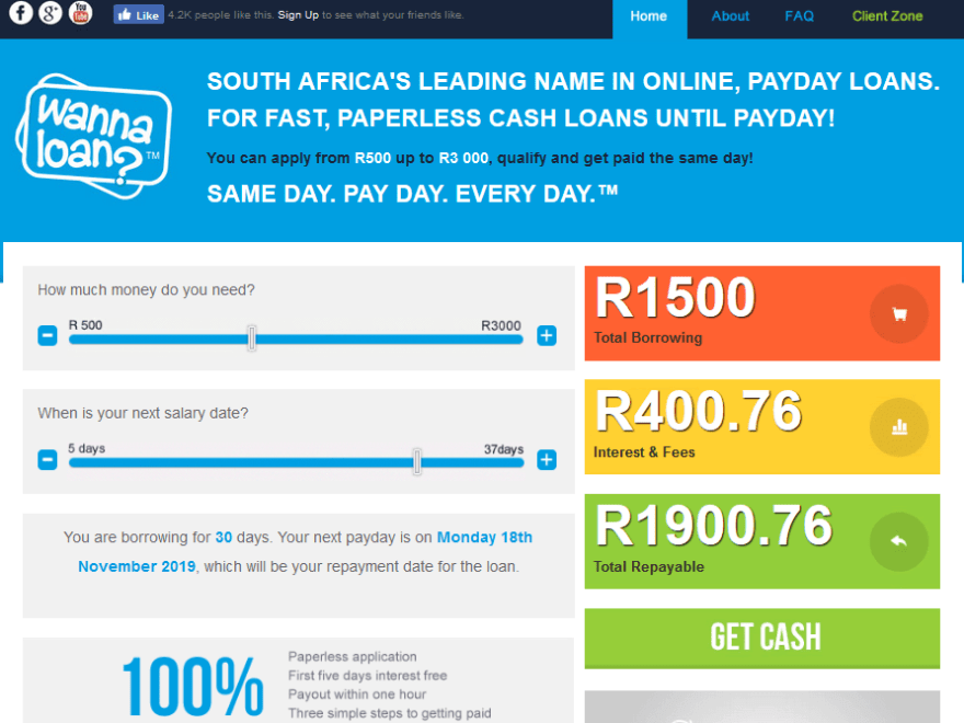 Wanna Loans Payday Loan