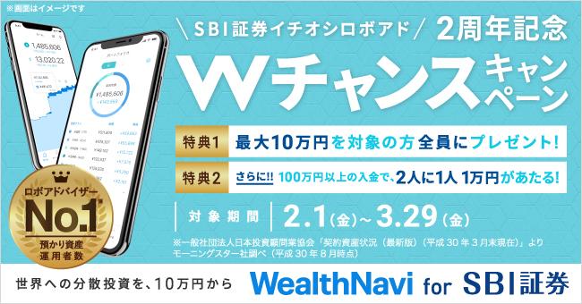 「WealthNavi for SBI証券」2周年記念 Wチャンスキャンペーン!