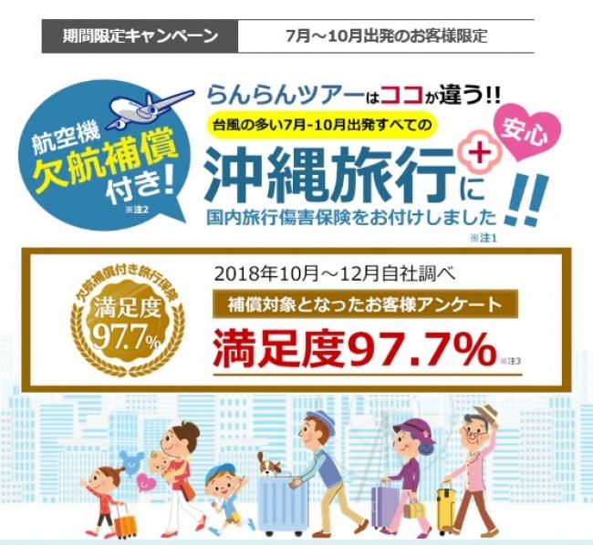 航空機欠航補償付・沖縄旅行・那覇発東京旅行を販売開始