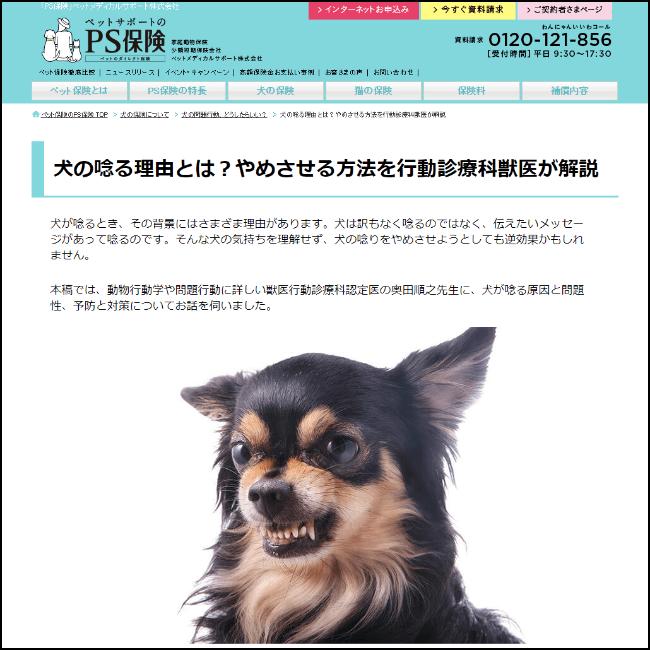 犬の問題行動「犬の唸る理由とは?」ウェブコンテンツ公開 ペット保険「PS保険」