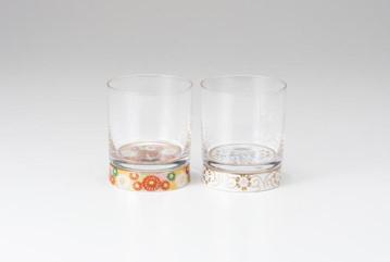 ペアロックグラス 金花詰・白粒鉄仙