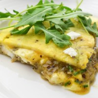 Stuffed frittata with aubergine and goat cheese