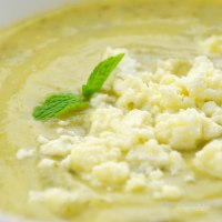 Zucchini velouté with mint and feta