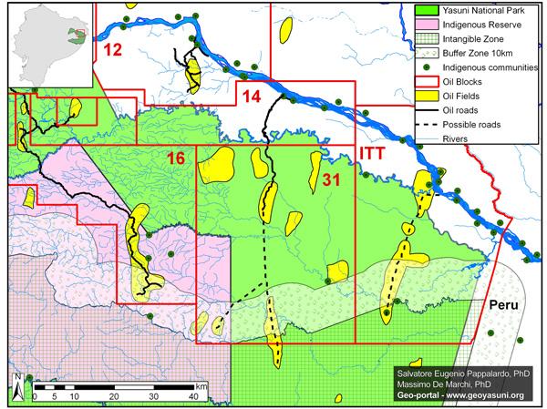Mapa del Bloque 31 en el Parque Nacional Yasuní