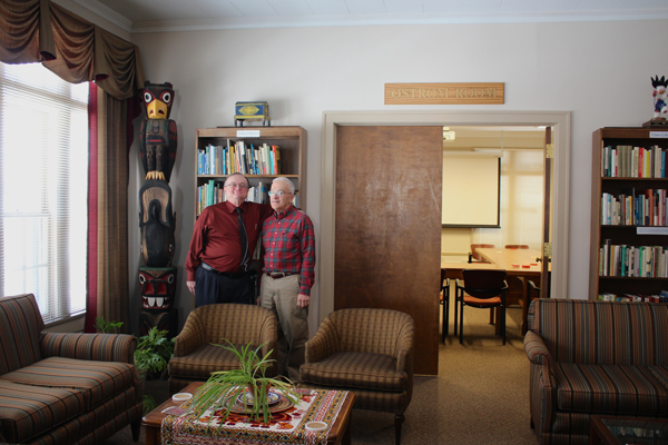 Indiana University-Blooomington Professors Mike McGinnis and Burnell Fischer near the Ostrom Room inside the The Vincent and Elinor Ostrom Workshop in Political Theory and Policy Analysis on campus.