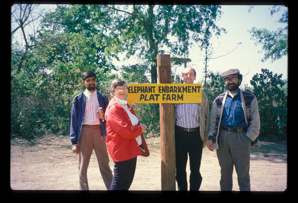 Photo taken March 1993 of elephant embankment platform in Ghadgain, (L to R) Indra Sharan K.C., Douglas Vermillion, Elinor Ostrom and Rabi Poudel during the final day of Workshop outing to the RCNP. Photo under the <a href=http://dlc.dlib.indiana.edu/dlc/>Digital Library of the Commons</a>.