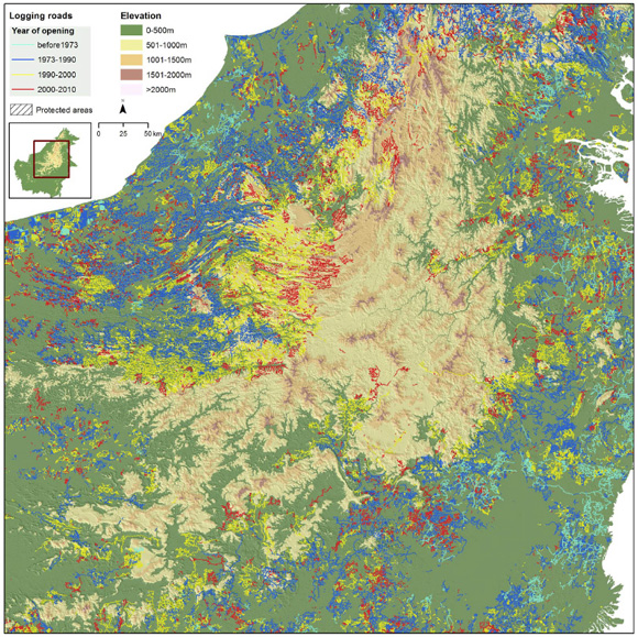 The heart of Borneo and the spatial progression of logging since 1973 depicting a logging 'frontier' moving steadily upward and inland, from the lowland coasts to the highlands. In many areas, logging roads are surrounding and abutting against the edges of highland protected forests – the last contiguous bastions of intact forest.
