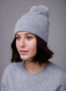 Gray Pom Hat