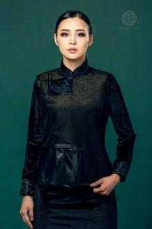 Mongolian Women's Black Suit
