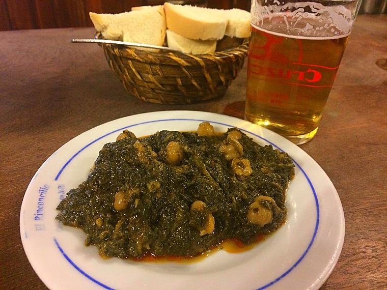 セビリア最古のバル「リンコンシージョ」のほうれん草とひよこ豆