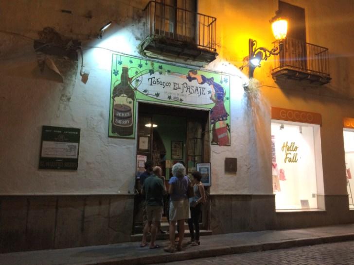 ヘレスのタバンコ『Tabanco El Pasaje』の入り口