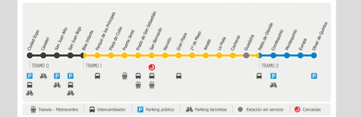 セビリアの地下鉄駅と路線図