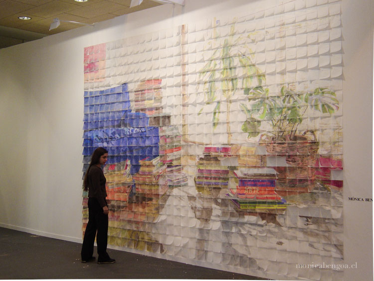 Mural de 759 servilletas de papel coloreadas a mano