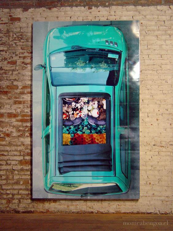 Instalación de 30 fotografías (una por día) compuesta por 135 módulos de 20 x 20 cm. c/u, en imanes sobre panel metálico.